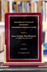 "Jan Worthington ""has been a leader in the field of genealogical research and practice in Australia for the past thirty years"" (2012 Professional Achievement Award citation)."